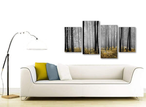 Modern Large Yellow and Grey Forest Woodland Trees Bedroom Canvas Pictures Decor - 4384 - 130cm Set of Prints