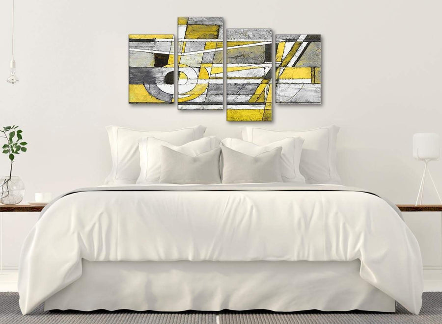 Modern Large Yellow Grey Painting Abstract Bedroom Canvas Wall Art Decor - 4400 - 130cm Set of Prints