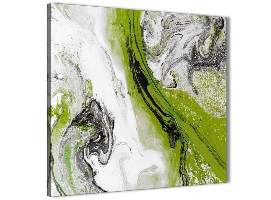 Modern Lime Green and Grey Swirl Abstract Office Canvas Wall Art Decorations 1s464l - 79cm Square Print