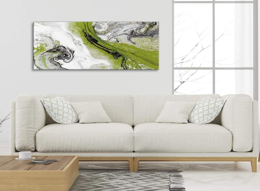 Modern Lime Green and Grey Swirl Bedroom Canvas Pictures Accessories - Abstract 1464 - 120cm Print