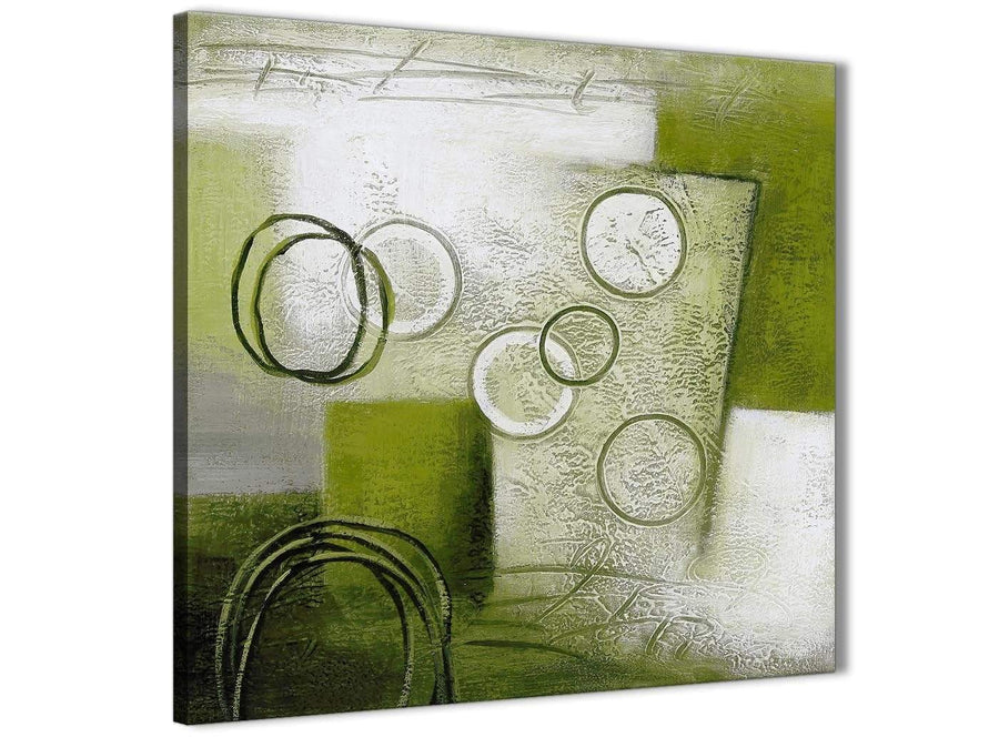 Modern Lime Green Painting Abstract Bedroom Canvas Wall Art Accessories 1s434l - 79cm Square Print