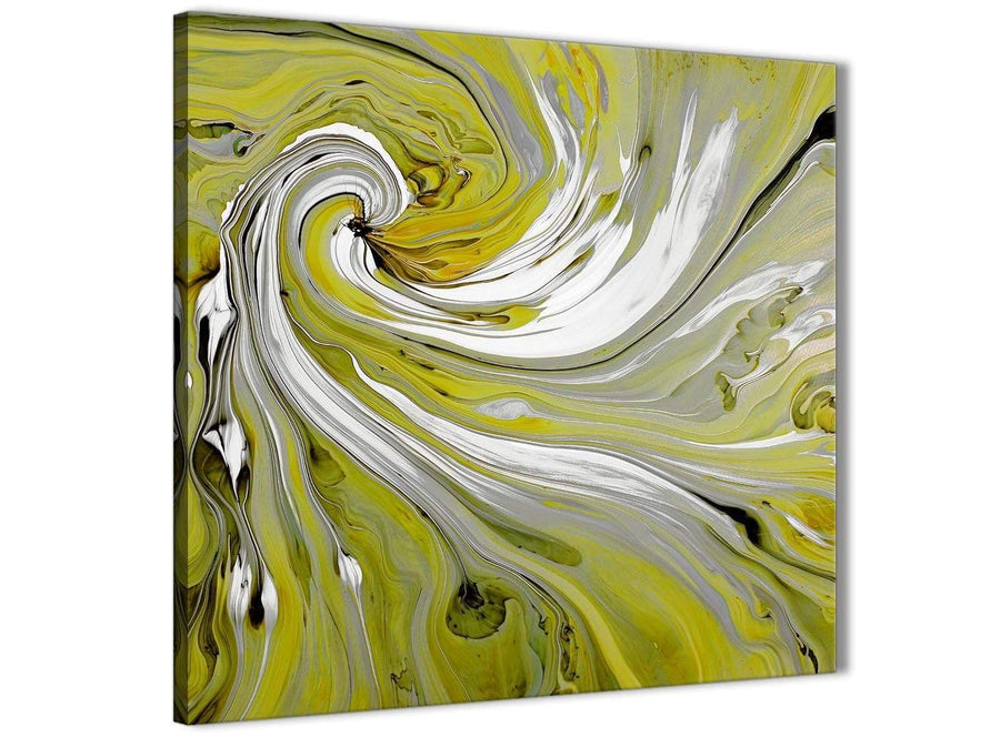 Modern Lime Green Swirls Modern Abstract Canvas Wall Art Modern 64cm Square 1S351M For Your Kitchen