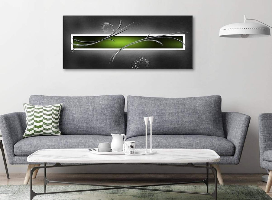 Modern Lime Green White Grey Modern Design Abstract Canvas Living Room Canvas Wall Art Accessories - Abstract 1093 - 120cm Print