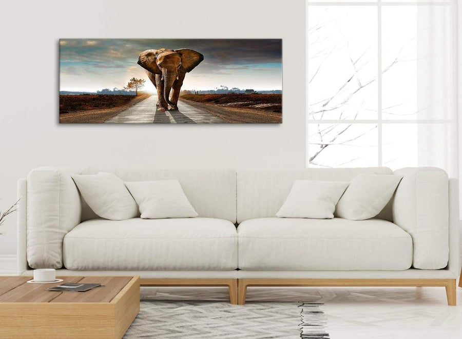 Modern Modern Elephant Landscape - Canvas Wall Art - 1209 - 120cm Wide Print