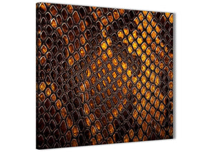 Modern Mustard Gold Snakeskin Animal Print Abstract Bedroom Canvas Pictures Decor 1s474l - 79cm Square Print