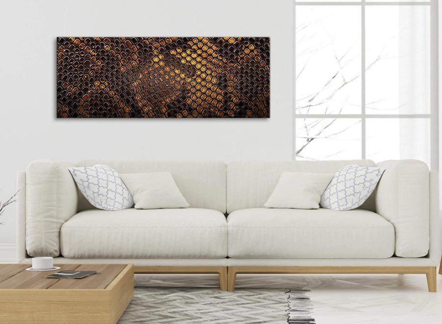 Modern Mustard Gold Snakeskin Animal Print Living Room Canvas Wall Art Accessories - Abstract 1474 - 120cm Print