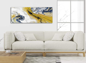 Modern Mustard Yellow and Blue Swirl Living Room Canvas Wall Art Accessories - Abstract 1469 - 120cm Print