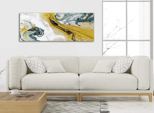 Modern Mustard Yellow and Teal Swirl Bedroom Canvas Wall Art Accessories - Abstract 1470 - 120cm Print