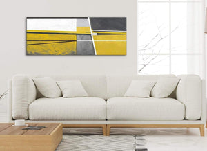 Modern Mustard Yellow Grey Painting Living Room Canvas Wall Art Accessories - Abstract 1388 - 120cm Print