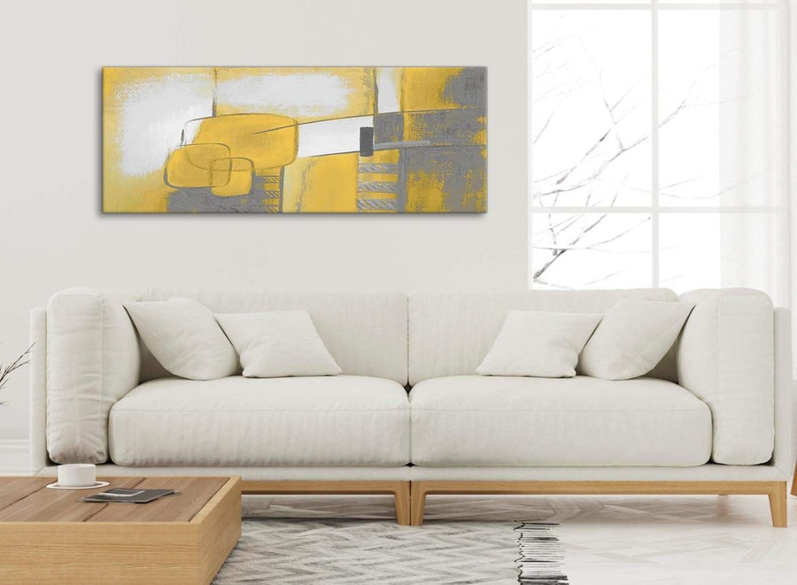 Modern Mustard Yellow Grey Painting Bedroom Canvas Pictures Accessories - Abstract 1419 - 120cm Print