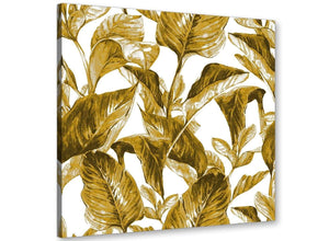 Modern Mustard Yellow White Tropical Leaves Canvas Modern 49cm Square 1S318S For Your Living Room