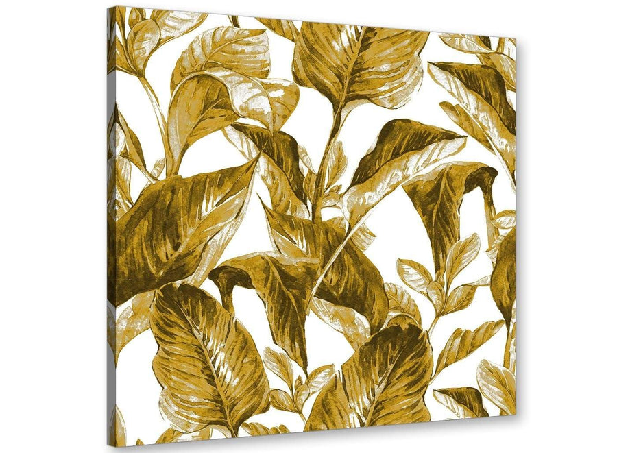 Modern Mustard Yellow White Tropical Leaves Canvas Modern 79cm Square 1S318L For Your Bedroom