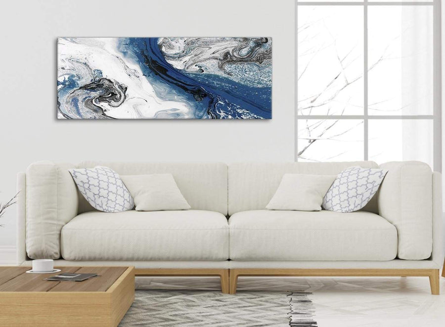 Modern Blue and Grey Swirl Living Room Canvas Wall Art Accessories - Abstract 1465 - 120cm Print