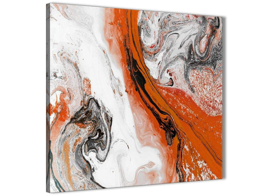 Modern Orange and Grey Swirl Abstract Bedroom Canvas Pictures Decor 1s461l - 79cm Square Print