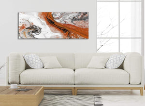 Modern Orange and Grey Swirl Bedroom Canvas Wall Art Accessories - Abstract 1461 - 120cm Print