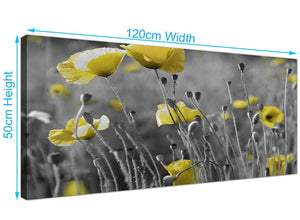 modern panoramic poppies canvas pictures black and white 1258