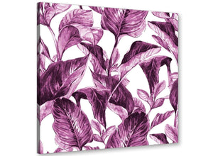 Modern Plum Aubergine White Tropical Leaves Canvas Modern 49cm Square 1S319S For Your Living Room