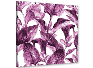 Modern Plum Aubergine White Tropical Leaves Canvas Modern 79cm Square 1S319L For Your Girls Bedroom