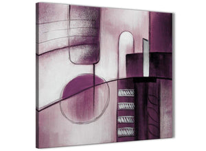 Modern Plum Grey Painting Abstract Office Canvas Pictures Accessories 1s420l - 79cm Square Print