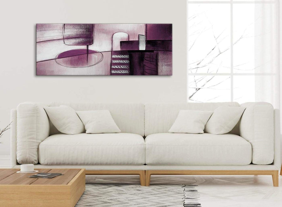 Modern Plum Grey Painting Living Room Canvas Wall Art Accessories - Abstract 1420 - 120cm Print