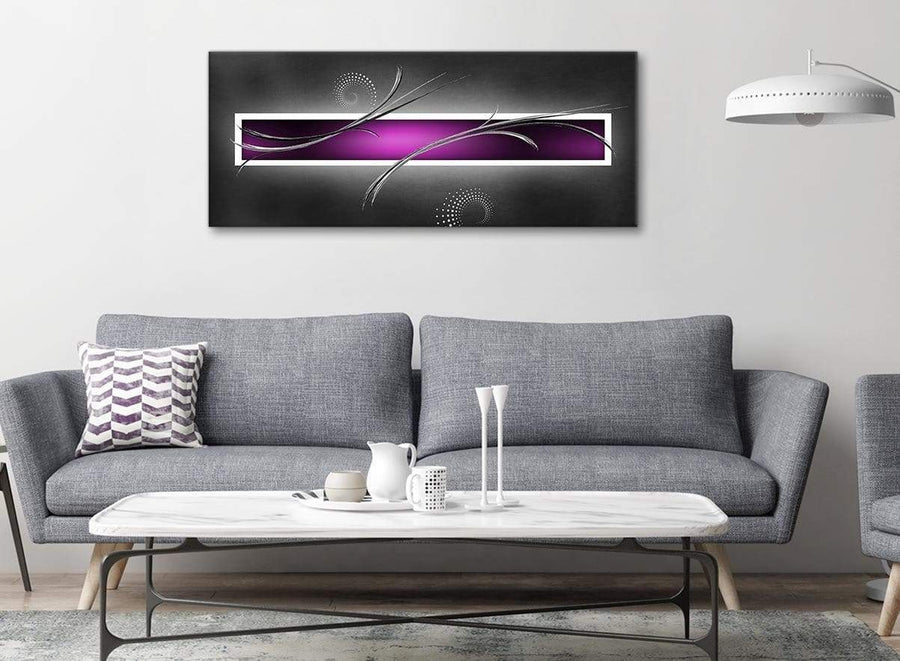 Modern Purple Grey Black Modern Design Abstract Canvas Living Room Canvas Wall Art Accessories - Abstract 1092 - 120cm Print
