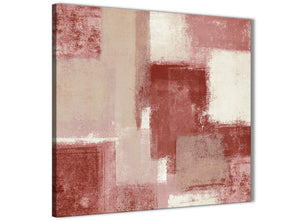 Modern Red and Cream Abstract Bedroom Canvas Pictures Decorations 1s370l - 79cm Square Print