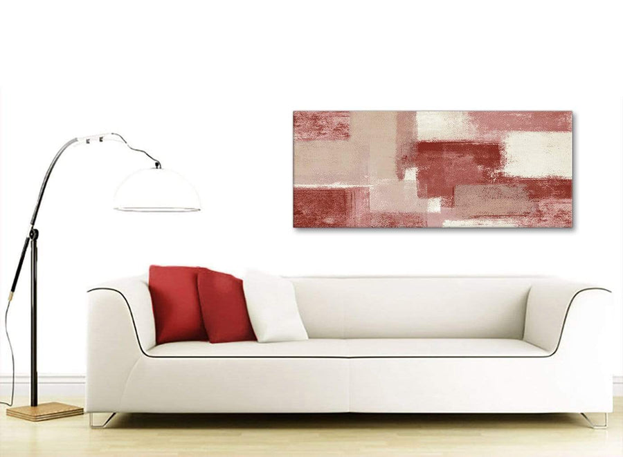 Modern Red and Cream Living Room Canvas Wall Art Accessories - Abstract 1370 - 120cm Print