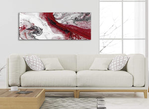 Modern Red and Grey Swirl Bedroom Canvas Pictures Accessories - Abstract 1467 - 120cm Print