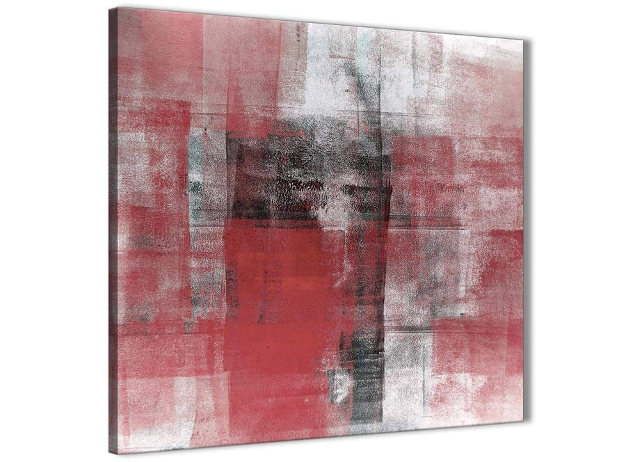 Modern Red Black White Painting Abstract Bedroom Canvas Pictures Accessories 1s397l - 79cm Square Print