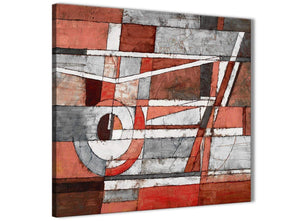 Modern Red Grey Painting Abstract Office Canvas Wall Art Decorations 1s401l - 79cm Square Print