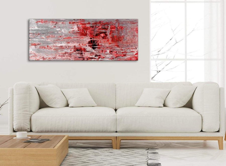 Modern Red Grey Painting Living Room Canvas Wall Art Accessories - Abstract 1414 - 120cm Print