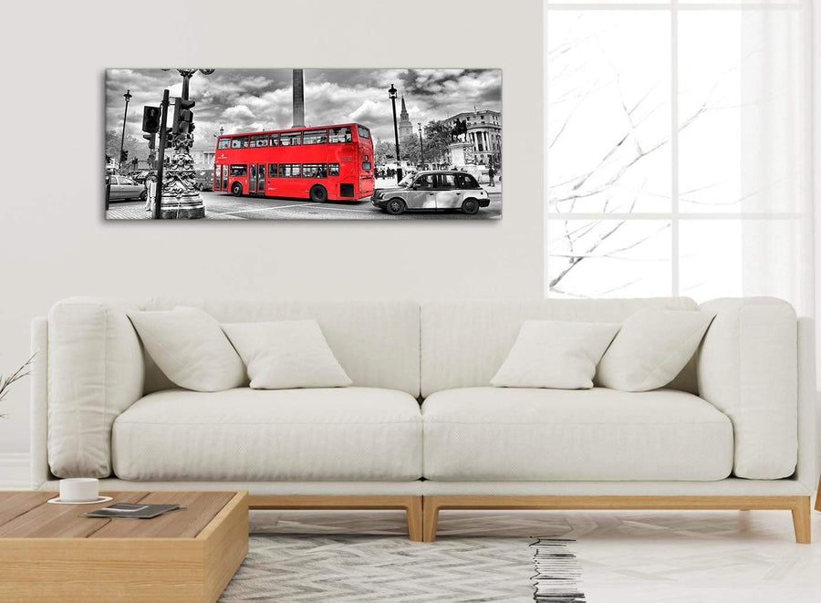 Modern Red London Bus - Street Scene Cityscape Living Room Canvas Wall Art Accessories - 1210 - 120cm Print