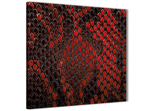 Modern Red Snakeskin Animal Print Abstract Living Room Canvas Wall Art Decor 1s476l - 79cm Square Print