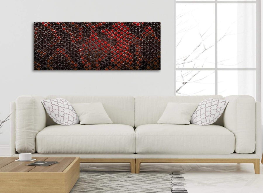 Modern Red Snakeskin Animal Print Living Room Canvas Pictures Accessories - Abstract 1476 - 120cm Print