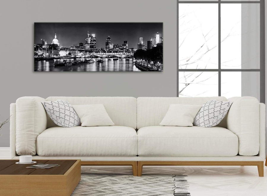 Modern River Thames Skyline of London Canvas Wall Art - Landscape - 1430 Black White Grey - 120cm Wide Print