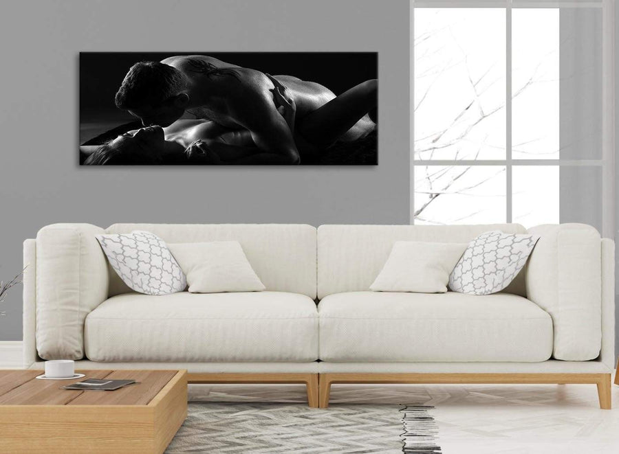 Modern Romantic Nude Couple Erotica Canvas Art Pictures - 1444 Black White - 120cm Wide Print