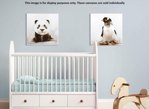 Modern square baby panda canvas art black and white 1s250m