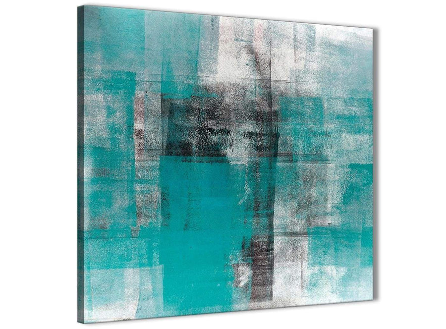 Modern Teal Black White Painting Abstract Dining Room Canvas Pictures Decorations 1s399l - 79cm Square Print