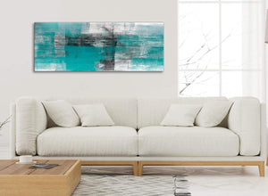 Modern Teal Black White Painting Bedroom Canvas Wall Art Accessories - Abstract 1399 - 120cm Print