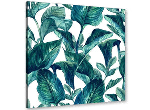 Modern Teal Blue Green Tropical Exotic Leaves Canvas Modern 49cm Square 1S325S For Your Dining Room