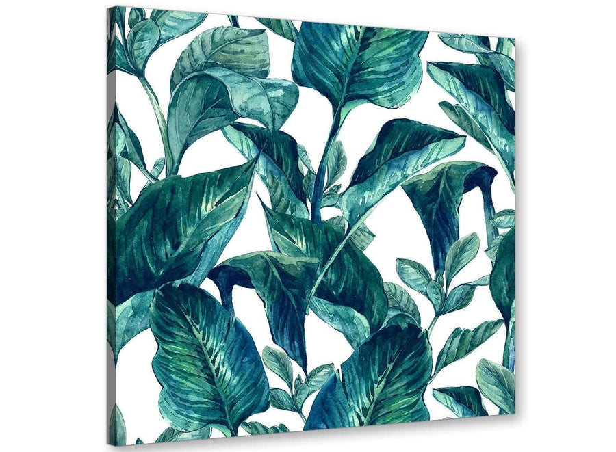 Modern Teal Blue Green Tropical Exotic Leaves Canvas Modern 79cm Square 1S325L For Your Living Room
