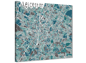 Modern Teal Blue Street Map of Leicester - Hallway Canvas Wall Art Decor 1s453l - 79cm Square Print