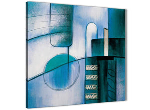 Modern Teal Cream Painting Abstract Bedroom Canvas Wall Art Decor 1s417l - 79cm Square Print