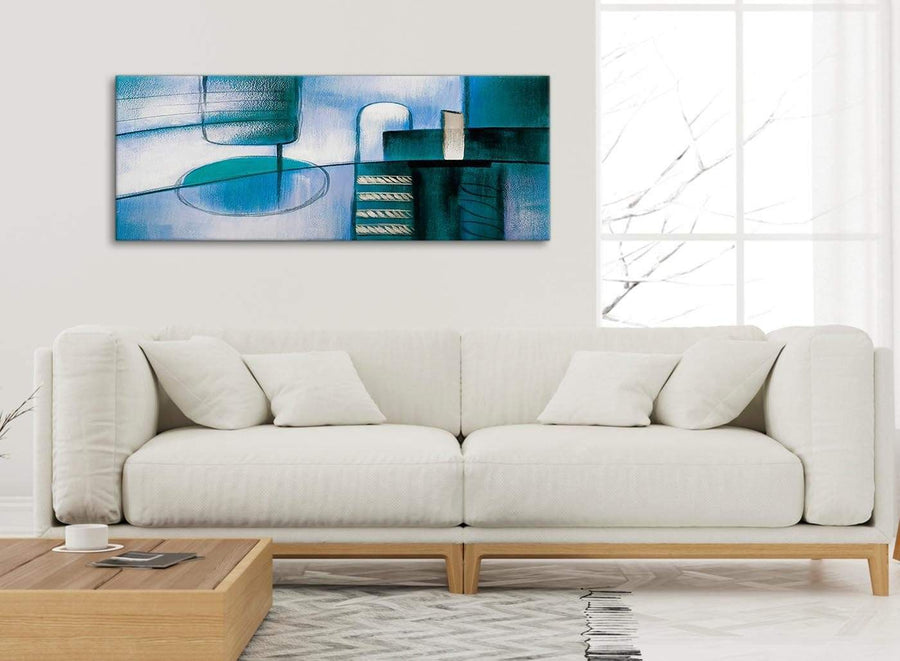 Modern Teal Cream Painting Living Room Canvas Wall Art Accessories - Abstract 1417 - 120cm Print