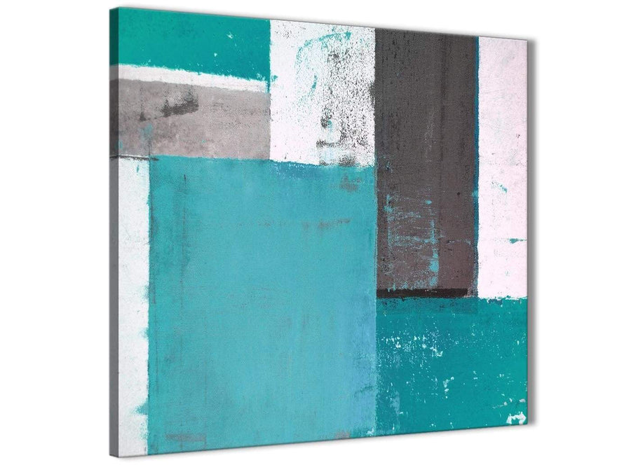 Modern Teal Grey Abstract Painting Canvas Wall Art Modern 49cm Square 1S344S For Your Living Room