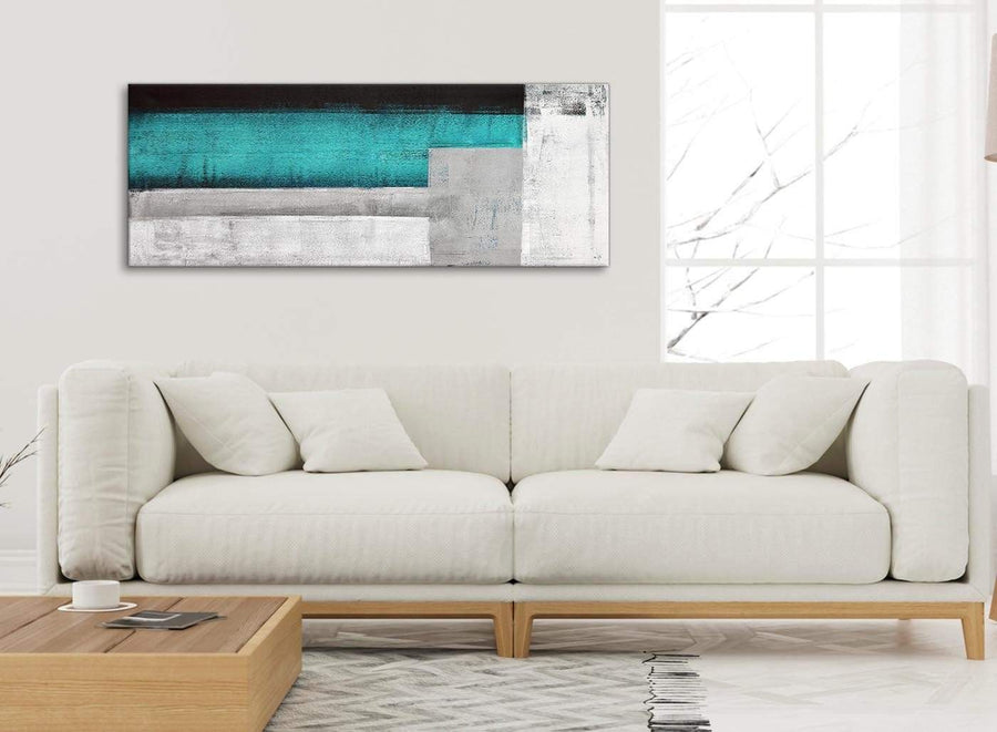 Modern Teal Turquoise Grey Painting Bedroom Canvas Pictures Accessories - Abstract 1429 - 120cm Print