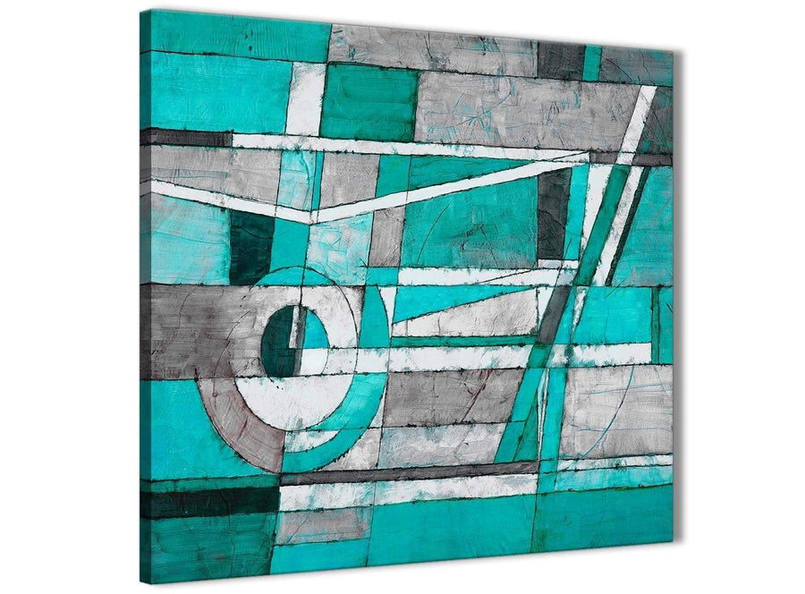 Modern Turquoise Grey Painting Abstract Hallway Canvas Wall Art Accessories 1s403l - 79cm Square Print