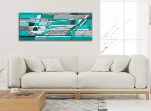 Modern Turquoise Grey Painting Living Room Canvas Wall Art Accessories - Abstract 1403 - 120cm Print