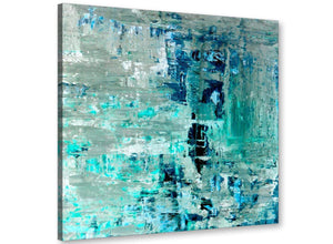 Modern Turquoise Teal Abstract Painting Wall Art Print Canvas Modern 79cm Square 1S333L For Your Bedroom