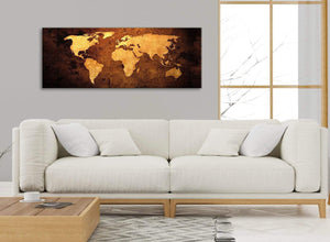 Modern Vintage Old World Map - Brown Cream Canvas - Living Room Canvas Wall Art Accessories - Abstract 1188 - 120cm Print